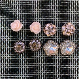 Forever 21 lot of 4 floral jewel stud earrings